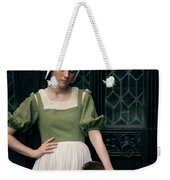 Tudor Woman Outside A Timber Building  Weekender Tote Bag
