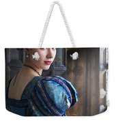 Tudor Woman With Puffed Sleeves And French Hood Facing A Window  Weekender Tote Bag