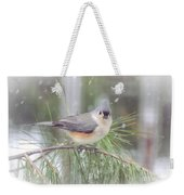 Tufted Titmouse - A Winter Delight Weekender Tote Bag