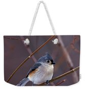 Tufted Titmouse In Winter Weekender Tote Bag