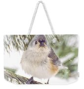 Tufted Titmouse Snow Face Weekender Tote Bag