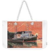 Tug Boats Anchored In Red Sky Weekender Tote Bag