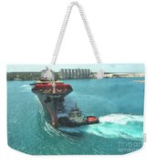 Tugboat At Freeport, Grand Bahamas Harbor Weekender Tote Bag