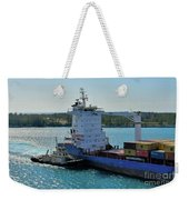 Tugboat Helping Container Ship Out Of Harbor Weekender Tote Bag