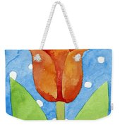 Tulip Blue White Spot Background Weekender Tote Bag