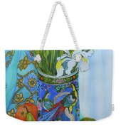 Tulips And Iris In A Japanese Vase, With Fruit And Textiles Weekender Tote Bag
