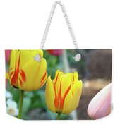Tulips Garden Art Prints Yellow Red Tulip Flowers Baslee Troutman Weekender Tote Bag