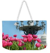 Tulips With Bartholdi Fountain Weekender Tote Bag
