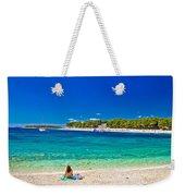 Turquoise Adriatic Beach In Primosten Weekender Tote Bag