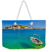 Turquoise Beach And Boat In Rogoznica Weekender Tote Bag