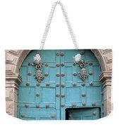 Turquoise Cusco Church Door Weekender Tote Bag