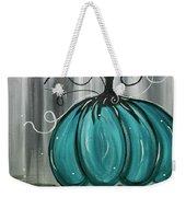 Turquoise Teal Surreal Pumpkin Weekender Tote Bag