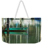 Turquoise Workboat On The Calm Harbor Weekender Tote Bag
