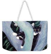 Tuxedo Cat In Mimosa Tree Weekender Tote Bag by Karen Zuk Rosenblatt