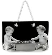 Twin Babies Playing Checkers, C.1930-40s Weekender Tote Bag