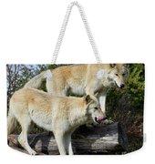 Twin Blond Wolves Weekender Tote Bag