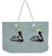 Twins Brown Pelican In Gulf Of Mexico Weekender Tote Bag