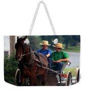 Two Amish Boy's In Buggy Weekender Tote Bag