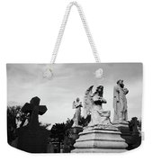 Two Angels Joseph, Jesus And A Bold Cross In A Cemetery Weekender Tote Bag