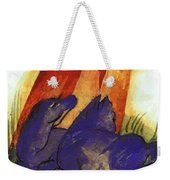 Two Blue Horses In Front Of A Red Roc 1913 Weekender Tote Bag