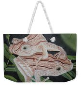 Two Brown Striped Frogs Weekender Tote Bag