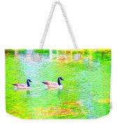 Two Canadian Geese In The Water Weekender Tote Bag