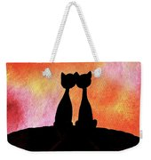 Two Cats And Sunset Silhouette Weekender Tote Bag