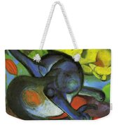 Two Cats Blue And Yellow 1912 Weekender Tote Bag