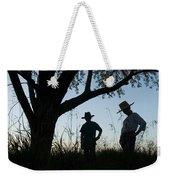 Two Children In Cowboy Hats Weekender Tote Bag