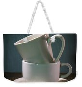 Two Coffee Cups On Saucer Weekender Tote Bag