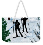 Two Cross Country Skiers In Snow Squall Weekender Tote Bag
