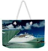 Two Cruise Ships Docked At A Caribbean Weekender Tote Bag