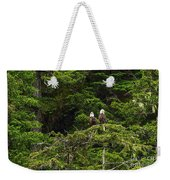 Two Eagles Perched Painterly Weekender Tote Bag