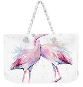 Two Flamingos Watercolor Famingo Love Weekender Tote Bag