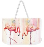 Two Flamingos Watercolor Weekender Tote Bag