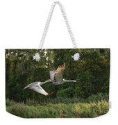 Two Florida Sandhill Cranes In Flight Weekender Tote Bag