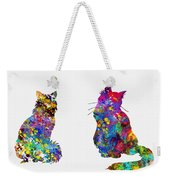 Two Fluffy Cats-colorful Weekender Tote Bag