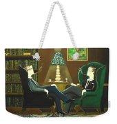 Two Gentlemen Sitting In Wingback Chairs At Private Club Weekender Tote Bag