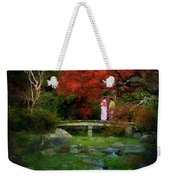 Two Girls In Kimono Standing On A Bridge In Japanese Garden In A Weekender Tote Bag