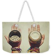 Two Hands Holding And Showing Both Sides Of Decorated Tibetan Singing Bowls Weekender Tote Bag
