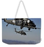 Two Hh-60 Pave Hawk Helicopters Prepare Weekender Tote Bag