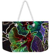 Two Hibiscus Glowing Edges Abstract Weekender Tote Bag