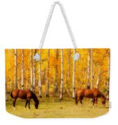 Two Horses In The Colorado Fall Foliage Weekender Tote Bag