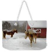 Two Horses In Winter Weekender Tote Bag