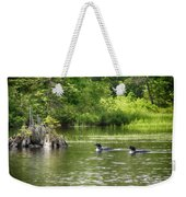 Two Loons Near Old Stump Weekender Tote Bag