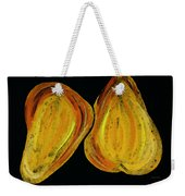 Two Pears - Yellow Gold Fruit Food Art Weekender Tote Bag by Sharon Cummings