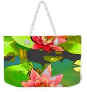 Two Pink Blooming Water Lilies  Weekender Tote Bag
