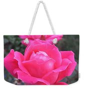Two Pink Double Roses Weekender Tote Bag