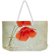 Two Poppies In A Glass Vase Weekender Tote Bag