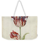 Two Red And White Tulips. Colombijn And Wit Van Poelenburg Weekender Tote Bag